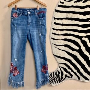 INC EMBROIDERED AND FRAYED skinny jeans size 12